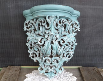 Upcycled Ornate Wall Shelf/Distressed/Turquoise Blue/Home Decor/Home and Living/Shabby Chic/Cottage Chic/Beach