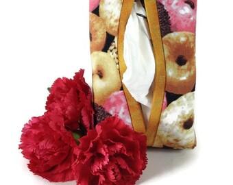 Donut Theme Kleenex Case, Travel Tissue Case, Fabric Tissue Cover, Purse Kleenex Case, Tissue Cozy with Cats, Kleenex Cozy, Tissue Holder