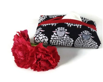 Sheep Theme Kleenex Case, Travel Tissue Case, Fabric Tissue Cover, Purse Kleenex Case, Tissue Cozy with Cats, Kleenex Cozy, Tissue Holder