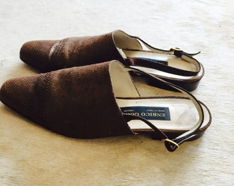 Vintage Enrico Gori Slides / Brown Leather Flats / Made in Italy / Size 9 1/2
