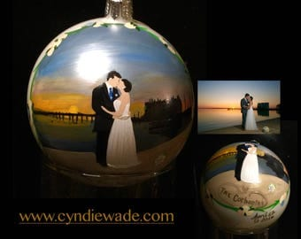 Painted Wedding Ornament Hand Painted and Personalized Christmas Bulb
