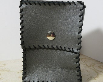 Leather Card Case - Gunmetal