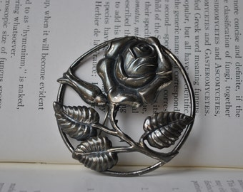 Vintage Sterling DANECRAFT Brooch - 1950s Rose Repousse Pin
