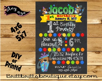 birthday dog Invitation first Birthday party Invitations Custom imagination Birthday invite 4x6 or 5x7 Digital OR Printed with envelopes