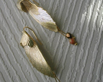 Gold wings, matte gold plated earwires, dangle earrings, accessory, gift