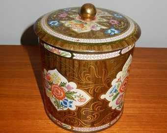 Vintage Faux Wood Chinoiserie Decorative Tin by Daher - Made in England