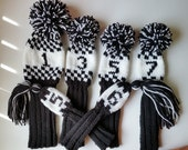Exclusive Custom Set 6 Hand Knit Golf Club Covers for Woods/Hybrid/Putter
