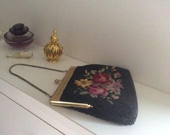 Vintage Beaded and Petit Point Handbag