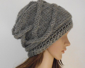 Light Gray Wool Hat.  Slouchy Beanie Hat. Hand Knit Hat. Winter Woman Hat. Oversized Beret.