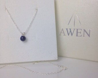Lapis Lazuli Necklace // Lapis Lazuli Pendant // Sterling Silver Chain // Small Crystal Necklace // Dainty Crystal Pendant