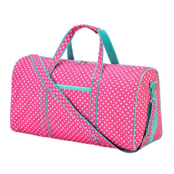 Pink Dottie embroidered  Duffel bag luggage overnight bag monogram bag girls sleepover luggage  bag Duffel bag