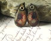 Handmade rustic polymer charms, earring pair, rustic jewelry supplies, primitive, tribal, shabby, Artisan, SRA