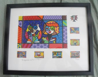 "Romero Britto ""Educating the World"" Signed Limited Edition Silkscreen Print"