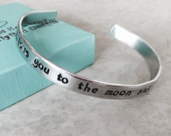Sale!  I love you to the moon and back bracelet personalized jewelry mothers jewelry hand stamped engraved cuff bracelet Christmas mother