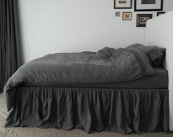 LINEN BED SKIRT dust ruffle. Linen bedskirt. Handmade by MOOshop.*52