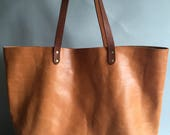 Tan brown leather tote leather tote leather shopper tan brown tote tan brown bag tan shoulder bag gift for her large tan bag tan bag