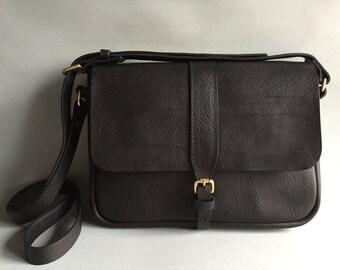 Black leather satchel, small black satchel, small black shoulder bag, black leather purse, black leather handbag, black cross body, satchel