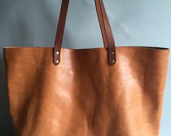 Tan brown leather tote, leather tote, leather shopper, tan brown tote, tan brown bag, tan shoulder bag, gift for her, large tan bag, tan bag