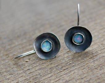 Opal Earrings, October Birthstone Earrings, Small Earrings, Gemstone Earrings, Blue Opals, Rustic Silver Earrings, Round Opal Earrings