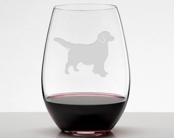 Golden Retriever, Retriever Gifts, Etched Stemless Wineglass