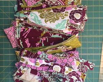 "DESTASH Fabric - Joel Dewberry Aviary 2 in Lilac collection - two pound bundle of scraps   Approx 65 - 9x6"" ;  30 - 10x2"" strips"