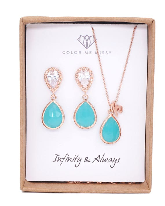 Rose Gold Mint Opal Teardrop Rose Gold FILLED Personalised Necklace Earrings - Wedding Bridesmaid bridal shower jewelry gifts weddings