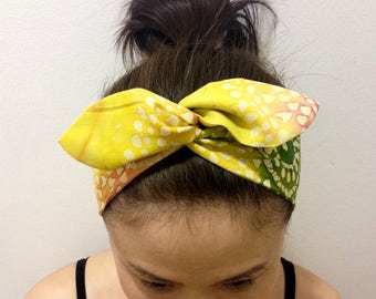 Batik Dolly Bow Headband / Inner Wired Headwrap  /Hair Scarf /Orange Yellow Green