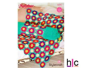 Crochet Flower Blanket Pattern - 9285, Afghan, Throw with Bolster cushion, Crochet cushion cover