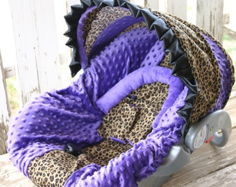 leopard/cheetah and purple minky car seat cover and hood cover with ruffle