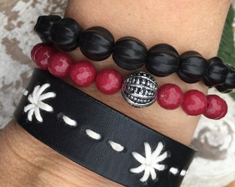 GIFT SET - embroidered black skinny leather cuff + marsala and black beaded bracelets, arm party, Love Squared Designs