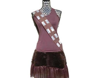 Chewbacca Star Wars themed shirt, sparkle skirt and belt