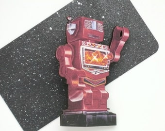 Laser Cut Robot Brooch Red Robot Pin Retro Sci Fi Jewelry Wooden Robot Broach