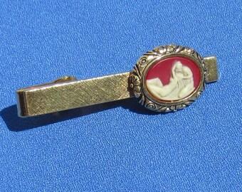 Vintage Dante Incolay Stone Cameo Style Tie Clip