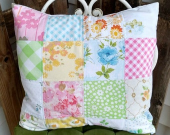 Quilted Vintage sheet Pillow cover Made to order Home decor from vintage linens