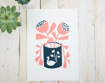 Coral & Navy Flowers ~ A4 print