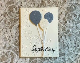 Handmade Greeting Card: Congratulations card, blue balloons, Graduation card, blue and white