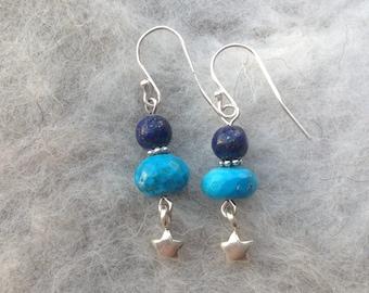 Turquoise/Lapis Lazuli/Drop Earrings/Gemstone jewellery/Karen Hill Tribe Silver/Sterling Silver/September/December birthstone/Gift for Her
