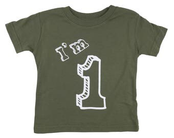 I'm One T Shirt - First Birthday Party 1 Year Old - Military Green