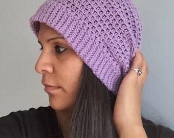 Crochet Slouchy hat. Purple beanie. Slouchy hat. Lavender cap. Adult beanie.