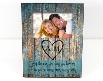 Personalized Anniversary Gift Custom Photo Frame Use Your Own Quote Personalized Picture Frame Rustic Wood Look Custom 8 x 10 w/ 4 x 6