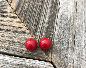 Round Ball Earrings-- Round Stud Earrings-- Red Ball Earrings