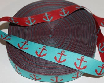 "7/8"" Wide Anchor Jacquard Ribbon- Turquoise and Red-Woven-Reversable"