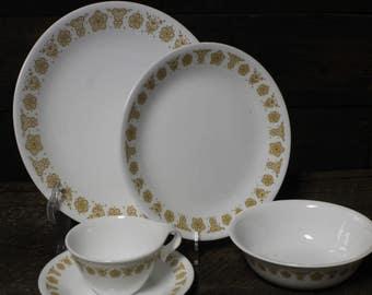 NOS Corelle Butterfly Gold Place Setting, Vintage Corelle Livingware