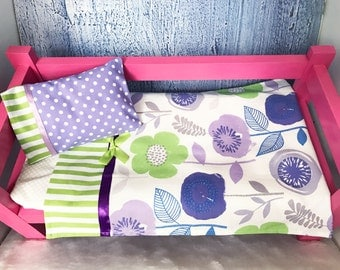 Doll Bedding, 18 Inch Doll Bedding, Green and Purple Bedding, Includes  Sheet, Pillow Case and Pillow