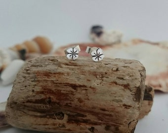 Lucky four leaf clover Earrings - Sterling Silver Lucky Charm Studs - Silver Earrings - Hand cut - Handstamped - Good luck - Made in England
