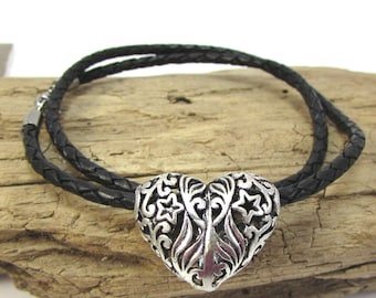 Black Bolo Cord Necklace, 3mm Braided Leather Necklace, Silver Heart Necklace, Item 1202n