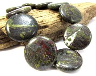 Dragon Blood Jasper Beads, 30mm Flat Round Puffed Beads, 3 High Quality Gemstone Beads, Jewelry Supplies, Item 1290gss