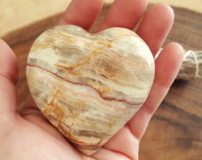 Pakistani Onyx Heart ~ One Reiki Infused gemstone heart approx 3 x 3 inches (PH09)