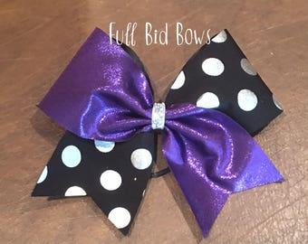 Cheer Bow - YOU CHOOSE COLOR Silver Black Polka Dot