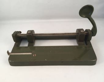 Rustic Vintage Industrial Improved Hummer 2 Hole Punch, Army Green Heavy Piece with Slide Measure Bar, Wilson Jones Co, Made in USA
